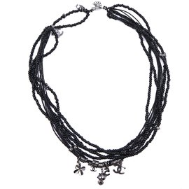Chanel-Chanel Black CC Beads Pearls Long Necklace-Black