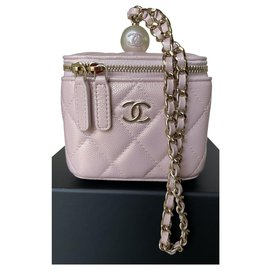 Chanel-Small Light Pink Caviar Leather Vanity with Chain-Pink