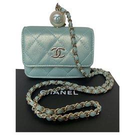 Chanel-Runway Iridescent Green Flap Coin Purse Clutch-Green