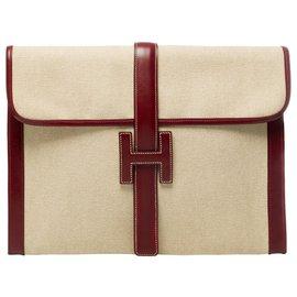 Hermès-Hermès Jige large bi-material pouch in beige officer canvas and burgundy box leather-Beige,Dark red