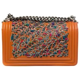 Chanel-Limited edition - Chanel Boy old medium shoulder bag in orange leather and tweed, Aged silver metal trim-Orange
