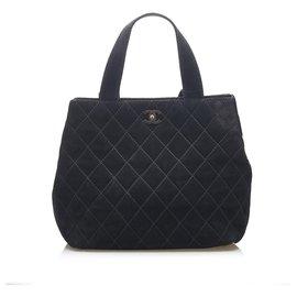 Chanel-Chanel Black Wild Stitch CC Suede Leather Tote Bag-Black