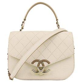 Chanel-Chanel White CC Timeless Caviar Leather Satchel-White,Cream