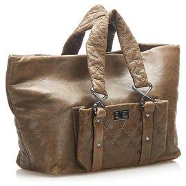 Chanel-Chanel Brown 8 Knots Lambskin Tote Bag-Brown,Khaki