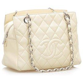 Chanel-Chanel White CC Caviar Leather Shopping Tote Bag-White,Cream