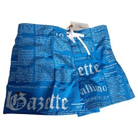 John Galliano-New John Galliano Newspaper Underwear swim shorts T /2-Blue