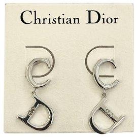 Dior-Boucles d'oreilles vintage CD-Bijouterie argentée
