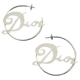 Dior-Créoles Dior Vintage-Bijouterie argentée
