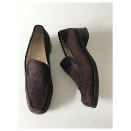 Chanel-Suede Loafers-Brown