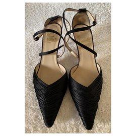 Christian Louboutin-Black satin sandals-Black
