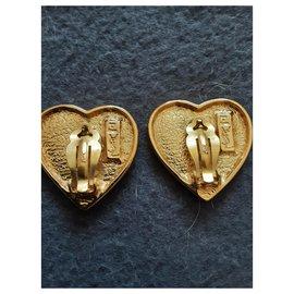 """Yves Saint Laurent-YVES SAINT LAURENT. """"Heart"""" earrings.-Gold hardware"""