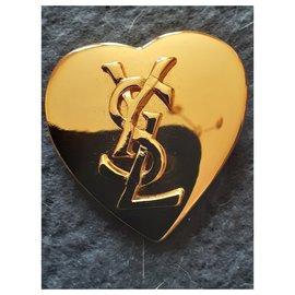 """Yves Saint Laurent-YVES SAINT LAURENT.  """"Heart Logo"""" brooch.-Gold hardware"""