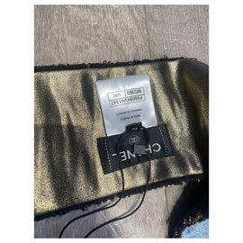 Chanel-Scarves-Black,Golden