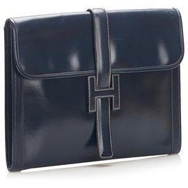 Hermès-Hermes Blue Jige GM Leather Clutch Bag-Blue,Navy blue