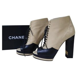 Chanel-Chanel CC Logo Black Brown Open Toe Lace Up Booties Size 40-Multiple colors