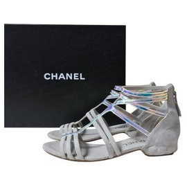 Chanel-Chanel Suede Flat Sandals Size 37-Multiple colors
