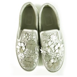 Christian Dior-Christian Dior Silver Leather Laser Cut Floral Embellished Flore Mocassins 38 $1,350-Silvery