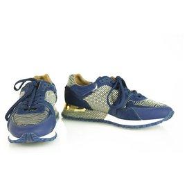 Louis Vuitton-Louis Vuitton Run Away Blue Epi calf leather Textile Sneakers with calf skin fur 36,5-Blue