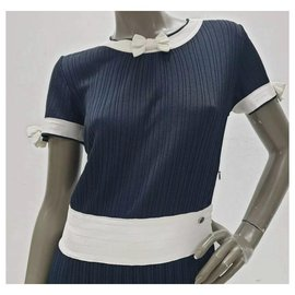 Chanel-Chanel Navy White Viscose Midi Dress Sz 38-Navy blue
