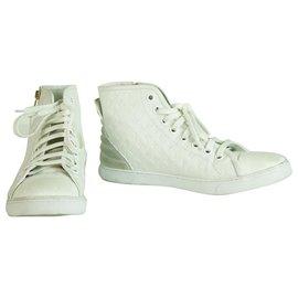 Louis Vuitton-Louis Vuitton Punchy Empreinte Leather High Top Sneakers Ivory off White sz 37,5-Cream