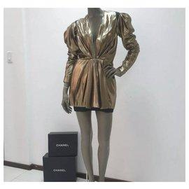 Yves Saint Laurent-Saint Laurent Plunge Neck Gold Tunic Dress Dress Sz 40-Golden