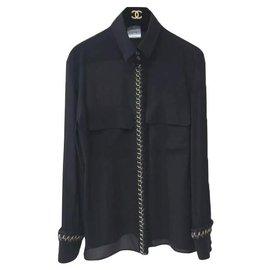 Chanel-Chanel Black Silk Chain-link Tweed Trim Embellished Blouse Sz.40-Black