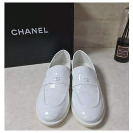 Chanel-Chanel CC Logo White Patent Leather  Loafers Shoes Sz 38-White