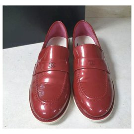 Chanel-Chanel CC Logo Red Patent Leather Loafers Shoes Sz 38-Dark red