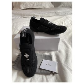 Christian Dior-Black sneakers with small pocket and embroidered ane-Black