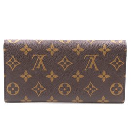Louis Vuitton-Louis Vuitton Monogram Red Emilie Long Wallet-Brown