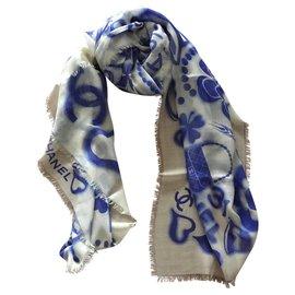 Chanel-STOLE CHANEL CASHMERE-Light blue