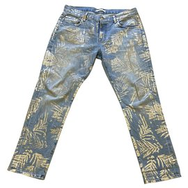 7 For All Mankind-Gold print straight cut jeans-Blue,Golden