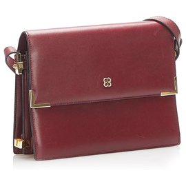 Balenciaga-Balenciaga Red Flap Leather Shoulder Bag-Red,Dark red