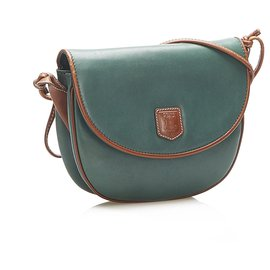 Céline-Celine Green Leather Crossbody Bag-Brown,Green