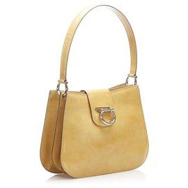 Céline-Celine Brown Patent Leather Shoulder Bag-Brown,Light brown