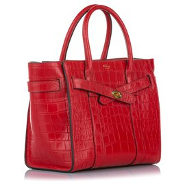 Mulberry-Mulberry Red Croc Embossed Leather Satchel-Red
