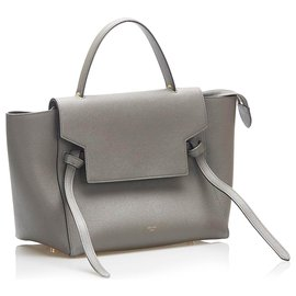 Céline-Celine Gray Belt Leather Satchel-Grey