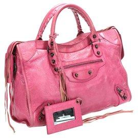 Balenciaga-Balenciaga Pink Motocross Classic City Leather Satchel-Pink