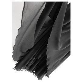 Yves Saint Laurent-SS94 Silk High Low Skirt-Black