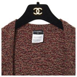 Chanel-RED BLACK CASHMERE BOLERO FR38-Black,Red,Cream