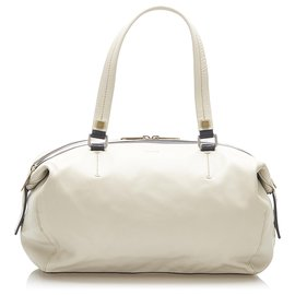Céline-Celine White Leather Shoulder Bag-White