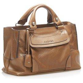 Céline-Celine Brown Boogie Leather Handbag-Brown