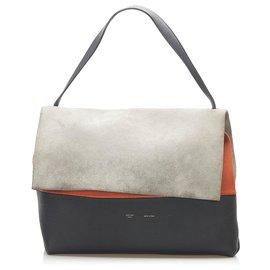 Céline-Celine Gray All Soft Leather Shoulder Bag-Blue,Grey,Navy blue