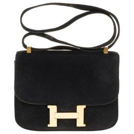 Hermès-Rare Hermès Constance bag 23 black suede, gold plated metal trim-Black