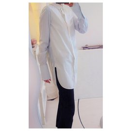 Céline-Long shirt with wide cuffs and side slits. Phoebe Philo design. Size 34 fr.-White,Blue,Light blue