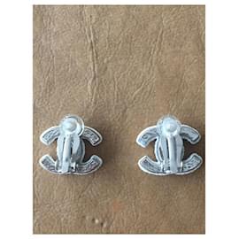 Chanel-Chanel logo earrings-White