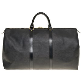 Louis Vuitton-Louis Vuitton Keepall Travel Bag 50 in black epi leather and gold metal hardware-Black