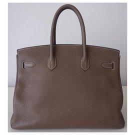 Hermès-Sac Hermes Birkin 35 étoupe-Gris