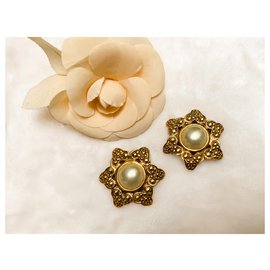 Chanel-Large Vintage Earrings 80'-Golden