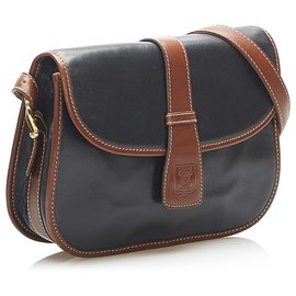Céline-Celine Black Leather Crossbody Bag-Brown,Black